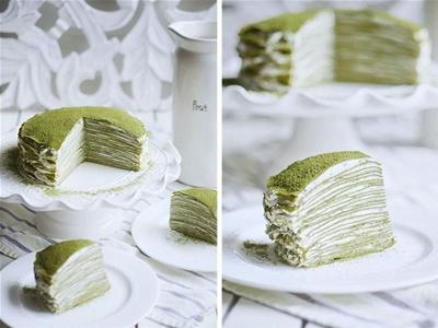 green tea mille crepe cake