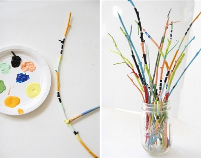 diy painted twig bouquet