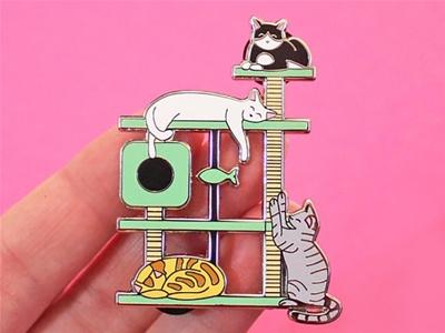 kitty paradise cat tree pin