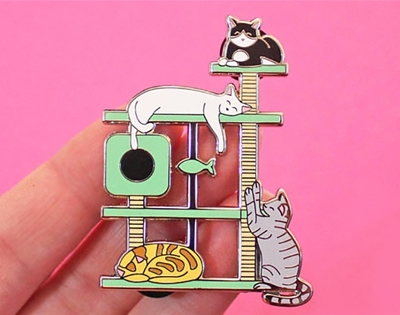 kitty paradise cat tree pin