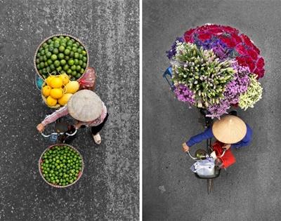 hanoi street vendors from above