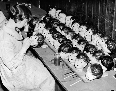 inside mid-century doll factories