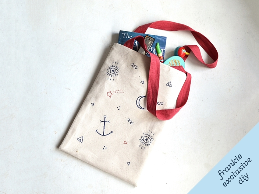 frankie exclusive diy: tattoo-inspired embroidered tote bag