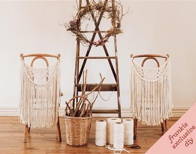 frankie exclusive diy: macramé chair hanging garland