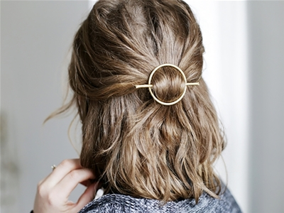 diy brass circle hair clasp
