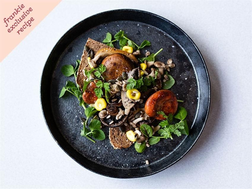 frankie exclusive recipe: fancy mushroom toast