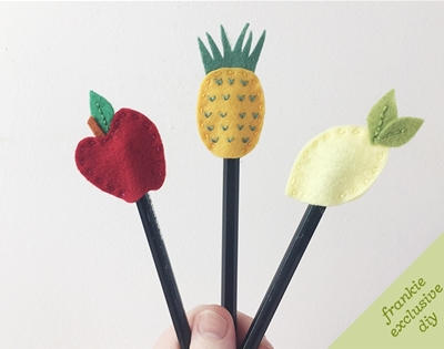 frankie exclusive diy: fruity pencil toppers