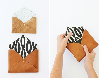 diy recycled leather envelope clutch