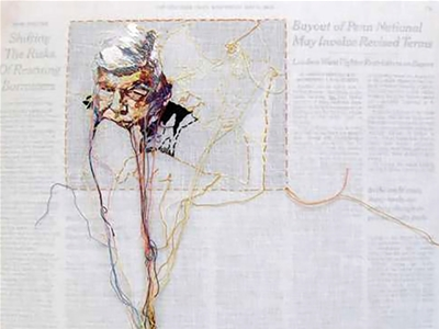 embroidering newspapers