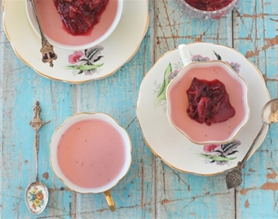 strawberry panna cotta with roasted rhubarb