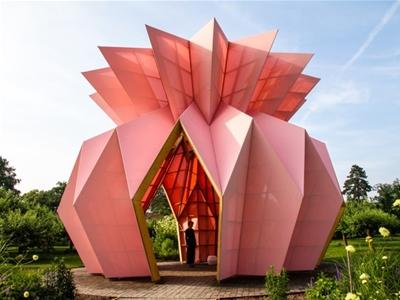 a pink pineapple-shaped pavilion