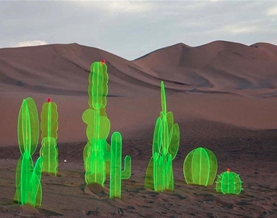fluorescent cactus sculptures for the home