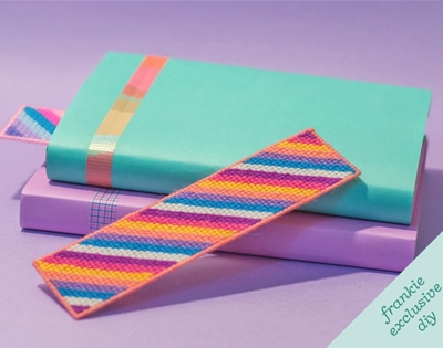 frankie exclusive diy: rainbow tapestry bookmark