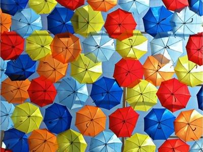 colourful portuguese umbrella canopies