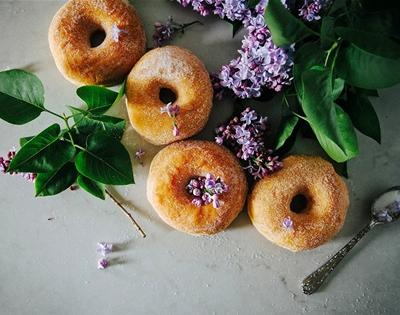 lilac sugar doughnuts