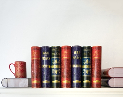 book-shaped tea tins