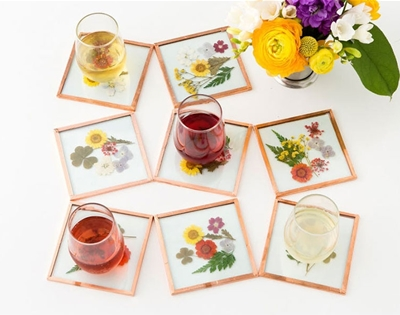 make your own pressed flower coasters