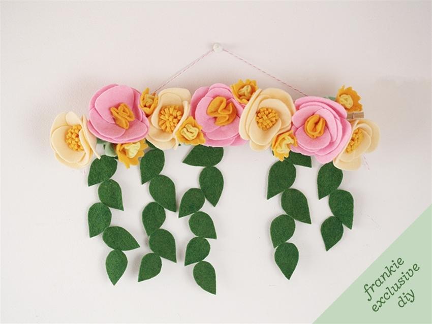 frankie exclusive diy: felt flower wall hanging