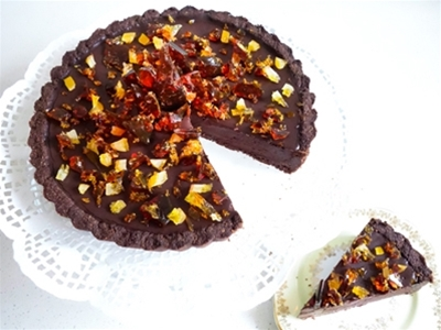 frankie fodder: dark chocolate and coconut jaffa fudge tart