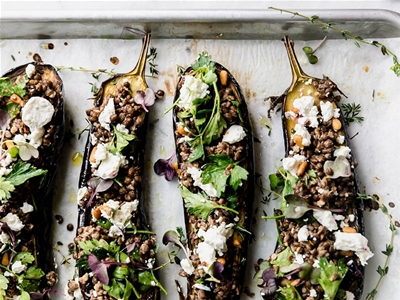 roasted eggplants with goats' cheese