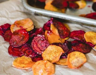 homemade beetroot and sweet potato chips