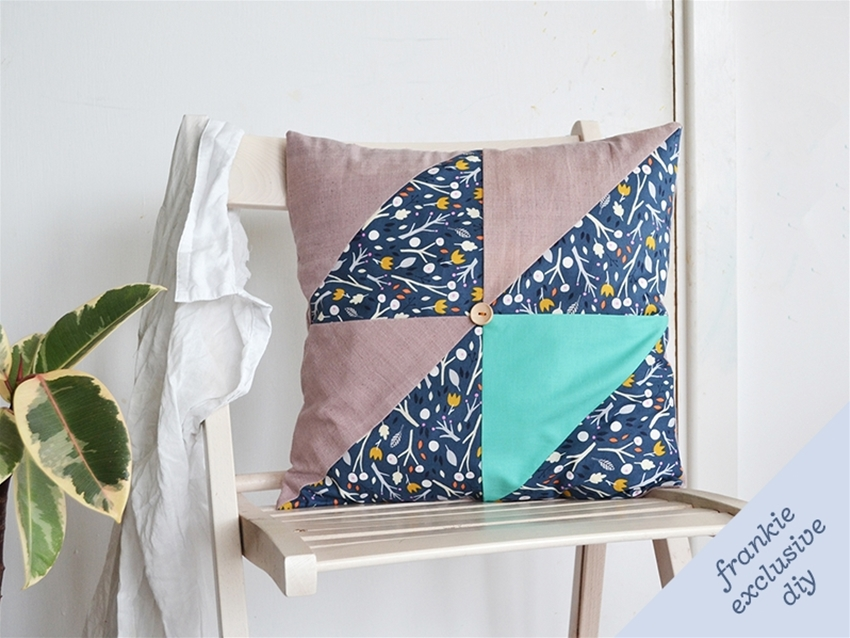 frankie exclusive diy: triangle patchwork cushion cover