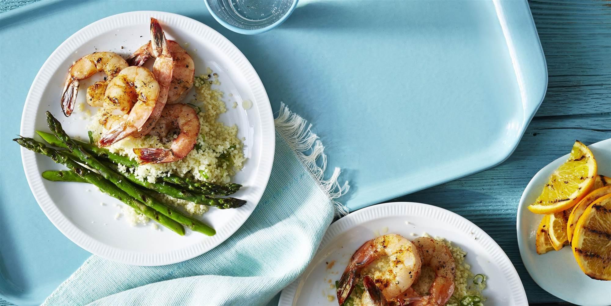 Cumin Grilled Prawn and Asparagus Recipe