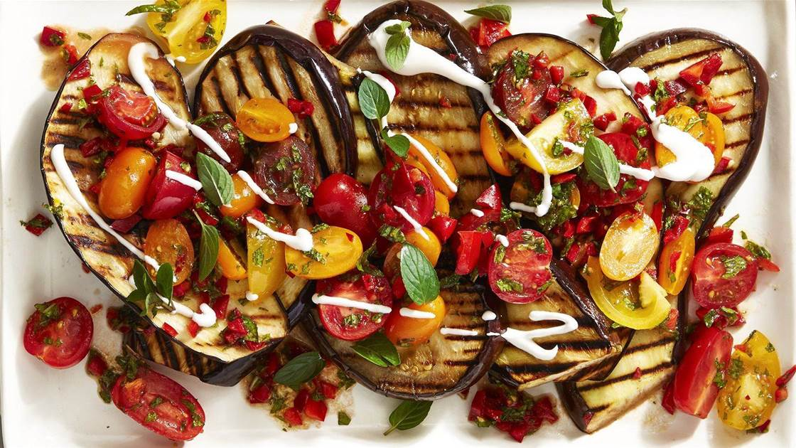 Spiced Grilled Eggplant with Fresh Tomato Salad