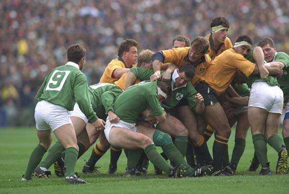 Donal Lenihan Of Ireland Rotates The Ball Out A Maul During Their Rugby World Cup Quarter Final Match Against Australia At Lansdowne Road In Dublin