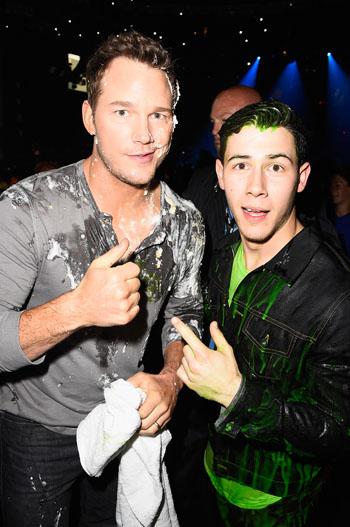Chris Pratt and Nick Jonas Slime