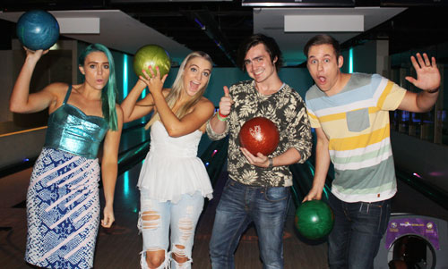 Photo: Nathan and the Australian band, Sheppard go bowling