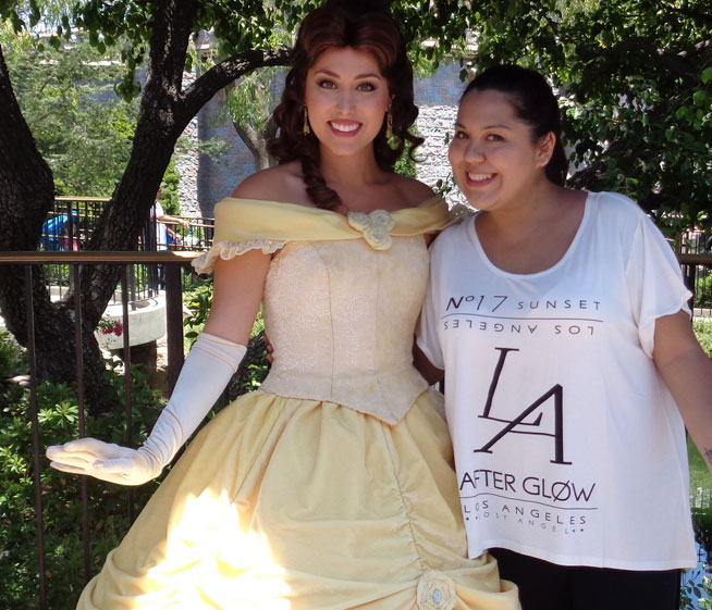 At Disneyland with Belle from Beauty and the Beast
