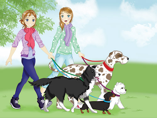 Jess-and-Holly-walking-dogs
