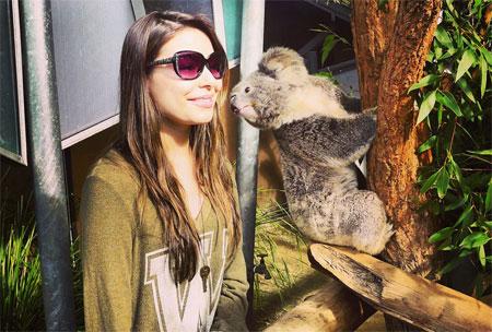 Miranda meets a koala! Photo: Facebook