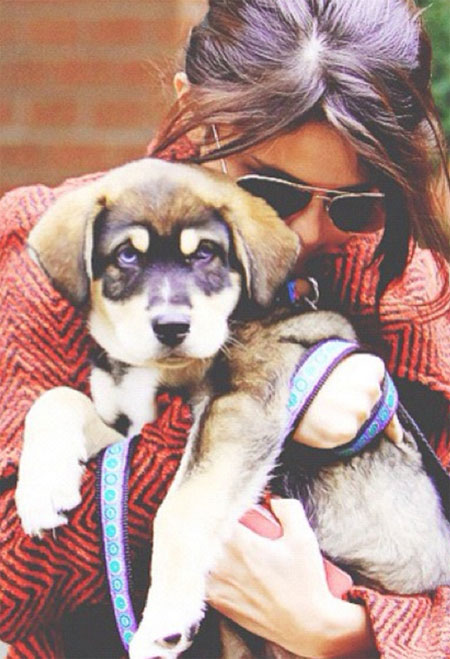 Selena and her dog Baylor, as a puppy!