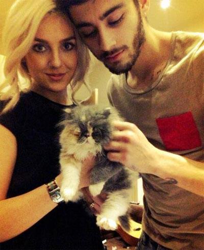 Zayn, Perrie and their kitten Prada. Photo: Facebook