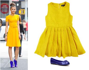 Zendaya's mustard dress and blue heels